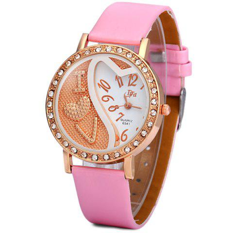 Chic DFa 6541 Female Quartz Watch Diamond Round Dial Leather Watchband