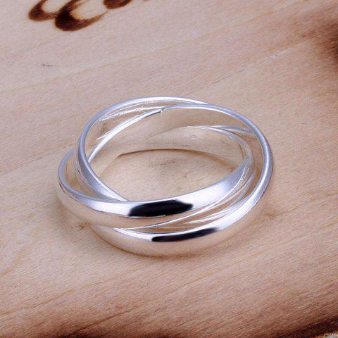 Shops Silver Plated Three Circles Ring