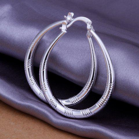 Chic Engraved Alloy Statement Hoop Earrings -   Mobile