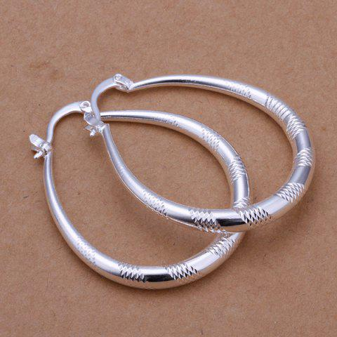 Affordable Engraved Alloy Statement Hoop Earrings -   Mobile