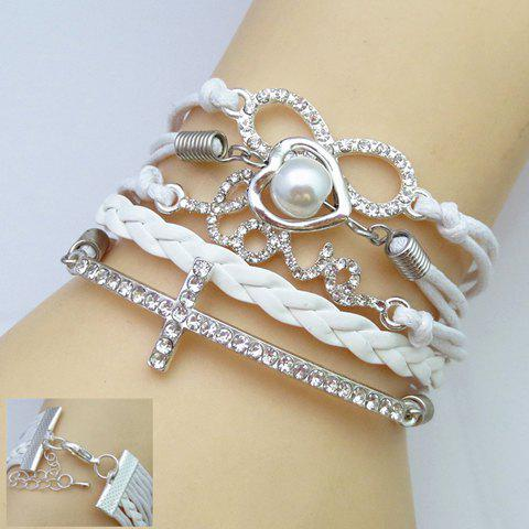 Rhinestone Decorated Multi-Layered Friendship Bracelet - White