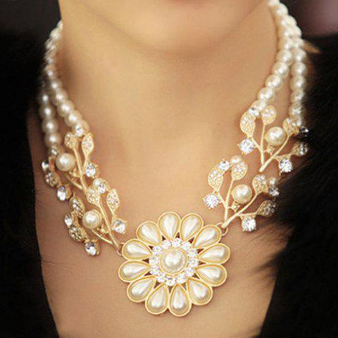 Discount Faux Pearl Flower Shape Pendant Necklace