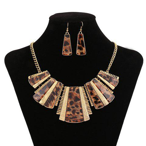 Shops Chic Special Design Leopard Geometric Pendant Necklace With A Pair of Earrings For Women GOLDEN