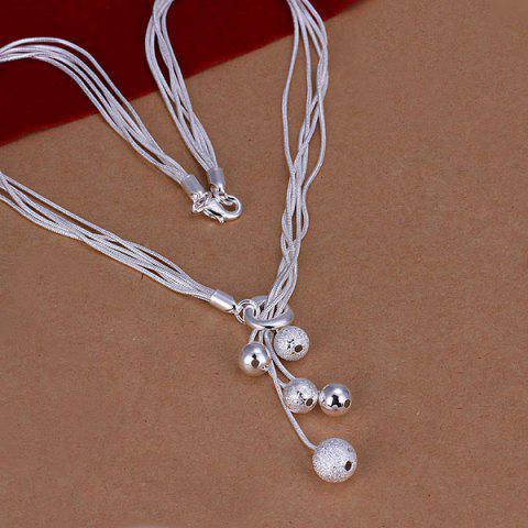 Online Silver Plated Beads Necklace For Women  18INCHS