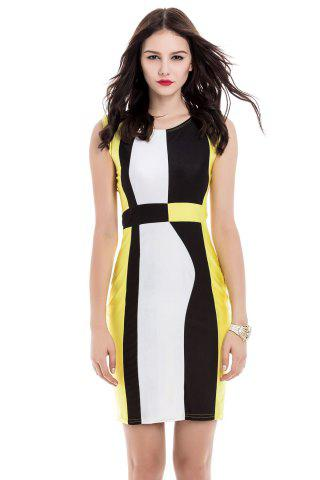 Sale Trendy Sleeveless Scoop Neck Color Block Pullover Women's Dress YELLOW M