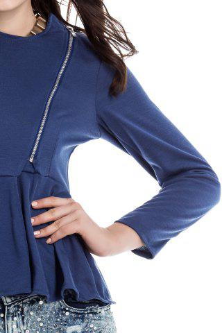 Outfits Slim Fit Zip Up Peplum Jacket - S CADETBLUE Mobile