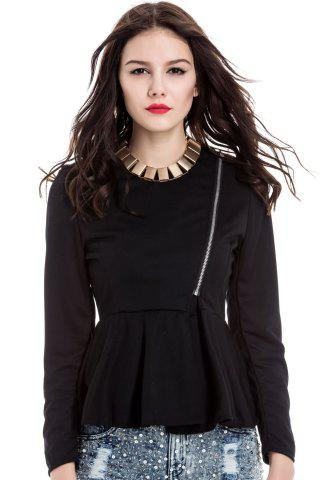 Outfits Slim Fit Zip Up Peplum Jacket - S BLACK Mobile