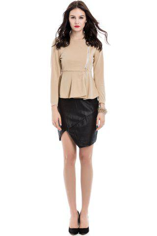 Fancy Slim Fit Zip Up Peplum Jacket - M OFF-WHITE Mobile
