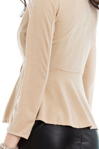 Cheap Slim Fit Zip Up Peplum Jacket - M OFF-WHITE Mobile
