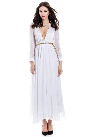 Online Long Sleeve Deep Plunging V Neck Slit Maxi Dress