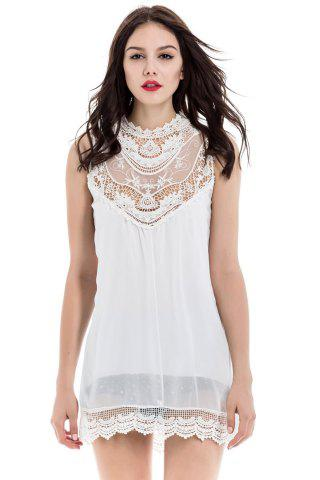 Online Lace Splicing Sleeveless Stand-Up Collar Hollow Out Design Women's Dress