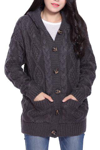 Shops Cable Knit Hooded Cardigan