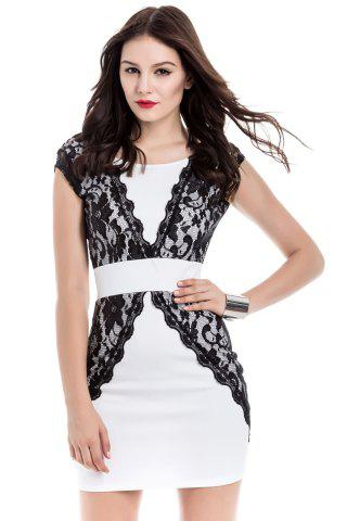 Affordable Contrast Lace Bodycon Mini Homecoming Dress WHITE M