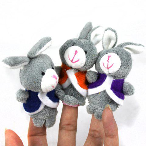 Discount 3pcs Rabbit Design Plush Toy Finger Puppets Tell Story Props for Kids