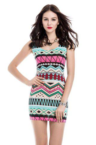 Scoop Neck Hollow Out Geometric Bodycon Dress For Women