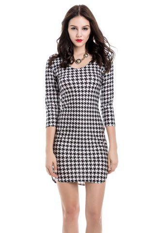 Unique Sexy Off-The-Shoulder Houndstooth 3/4 Sleeve Dress For Women WHITE/BLACK M