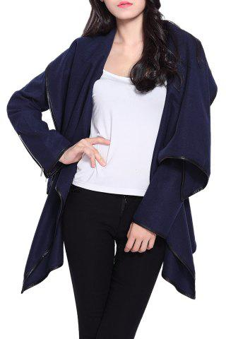 Latest Stylish Long Sleeves Solid Color Asymmetric Wool Coat For Women CADETBLUE XL