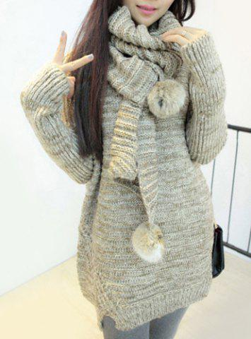 Outfits Scoop Neck Long Chunky Sweater with Scarf