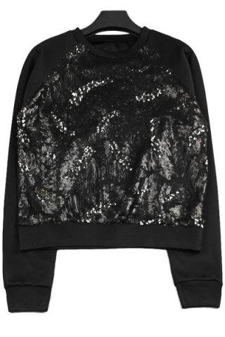 ONE SIZE(FIT SIZE XS TO M) BLACK Round Collar Long Sleeve Sequins Leaf Pattern Sweatshirt