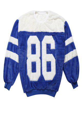 ONE SIZE(FIT SIZE XS TO M) BLUE Round Collar Long Sleeve Letter Pattern Color Block Sweatshirt