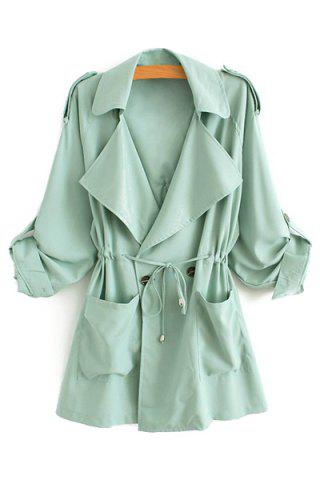 Affordable Stylish Lapel Neck Long Sleeve Solid Color Lace-Up Epaulet Women's Trench Coat GREEN L