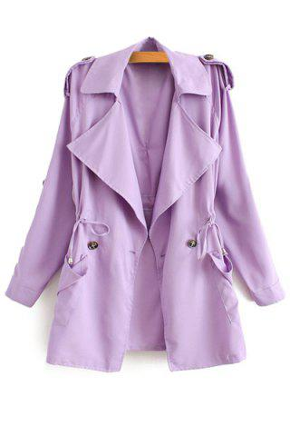 Stylish Lapel Neck Long Sleeve Solid Color Lace-Up Epaulet Women's Trench Coat - Purple - L