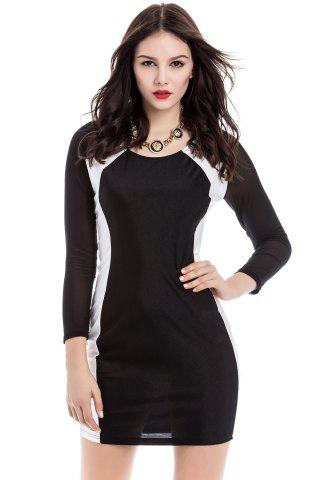 Discount Sexy U Neck Color Matching Long Sleeves Women's Bodycon Dress BLACK ONE SIZE