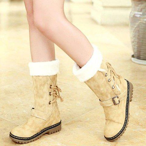 Online Vintage Suede and Buckle Design Women's Boots - 38 BEIGE Mobile
