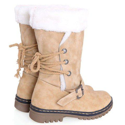 Trendy Vintage Suede and Buckle Design Women's Boots - 38 BEIGE Mobile