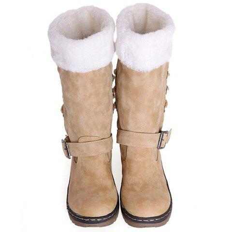 New Vintage Suede and Buckle Design Women's Boots - 38 BEIGE Mobile