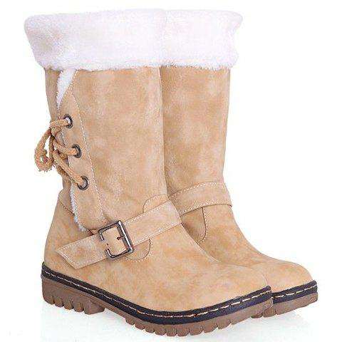 Outfit Vintage Suede and Buckle Design Women's Boots - 38 BEIGE Mobile