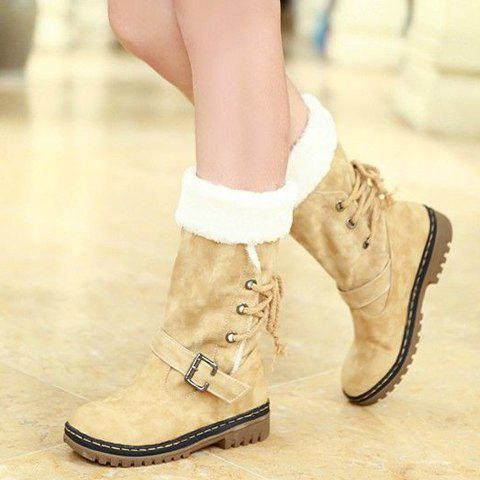 Latest Vintage Suede and Buckle Design Women's Boots - 38 BEIGE Mobile