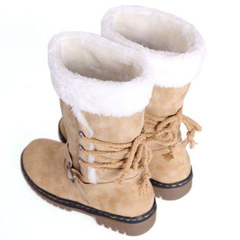 Shops Vintage Suede and Buckle Design Women's Boots - 38 BEIGE Mobile