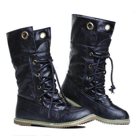 Best Lace Up Ruched Mid Calf Boots - 38 BLACK Mobile