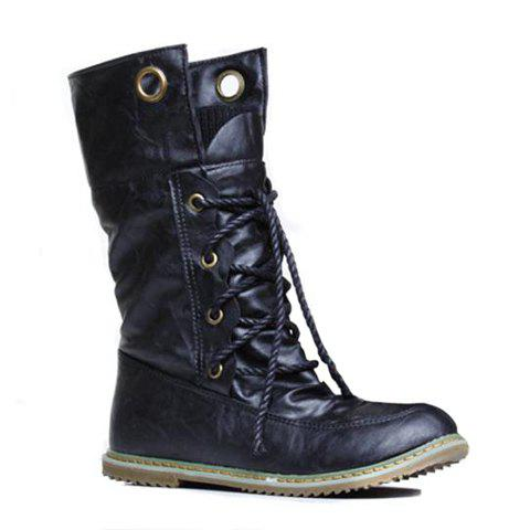New Lace Up Ruched Mid Calf Boots BLACK 43