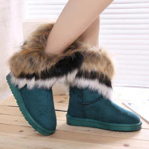 Sale Furry Mid Calf Boots - 35 BLUE Mobile