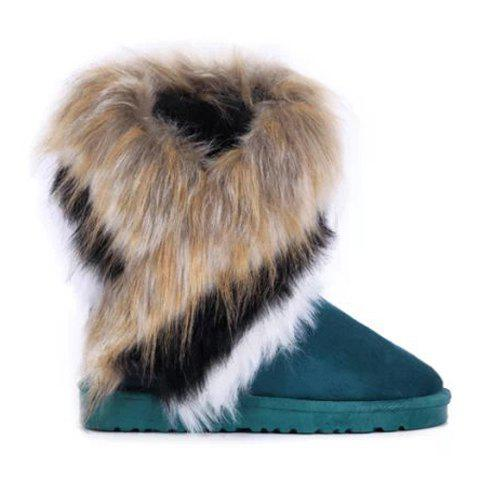 Fancy Furry Mid Calf Boots - 35 BLUE Mobile