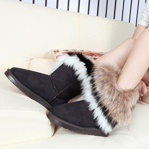 Chic Furry Mid Calf Boots - 35 BLACK Mobile