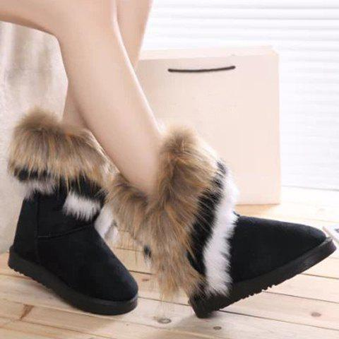 Latest Furry Mid Calf Boots - 35 BLACK Mobile
