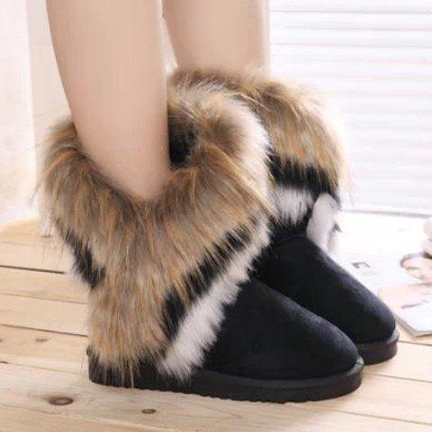 Affordable Furry Mid Calf Boots - 35 BLACK Mobile