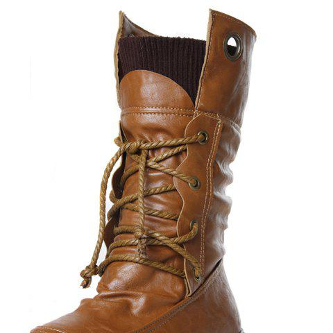 Best Lace Up Ruched Mid Calf Boots - 34 YELLOW Mobile