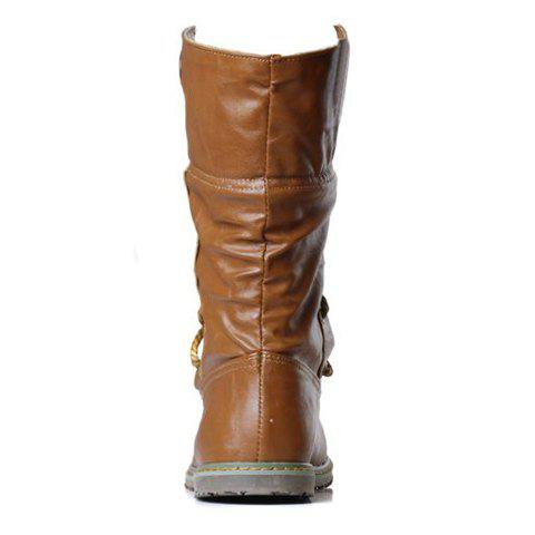Online Lace Up Ruched Mid Calf Boots - 39 YELLOW Mobile