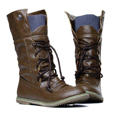 Fashion Lace Up Ruched Mid Calf Boots - 34 BROWN Mobile