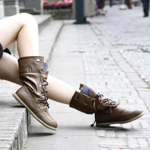 Unique Lace Up Ruched Mid Calf Boots - 34 BROWN Mobile