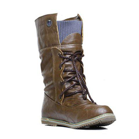 Fashion Lace Up Ruched Mid Calf Boots - 36 BROWN Mobile