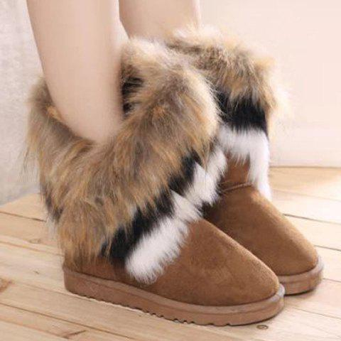 Outfit Furry Mid Calf Boots - 35 BROWN Mobile