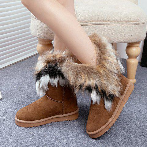 Cheap Furry Mid Calf Boots - 35 BROWN Mobile