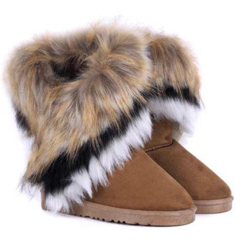 Chic Furry Mid Calf Boots BROWN 38