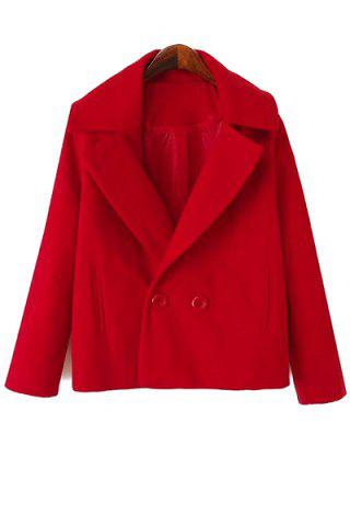 Womens Simple Style Lapel Collar Long Sleeve Solid Color Worsted Women's Coat