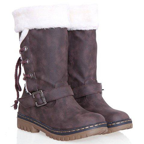 Shops Vintage Suede and Buckle Design Women's Boots